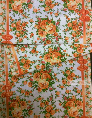 Floral cotton fabric by the yard ''Roses On Beige''}