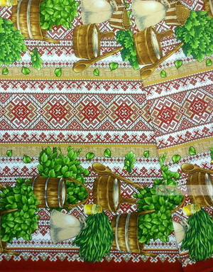 Waffle Cotton Fabric by the yard ''Belarusian Bath''}