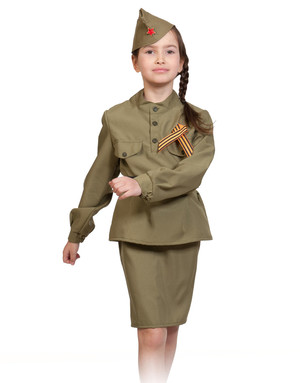 Soviet Uniform stage costume for girls ''Militarily''