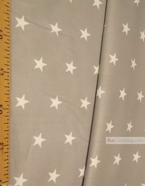 Baby fabric by the Yard ''White Star On Gray''