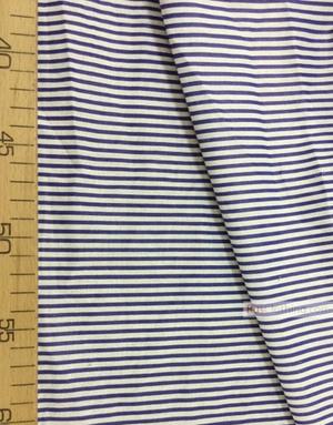 Tissu coton imprime au metre ''Narrow, White, Blue Stripe''}