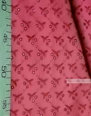 Embroidered Cotton Fabric ''Cherry''}