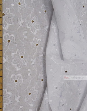 Embroidery Eyelet Fabric ''Leaves''}