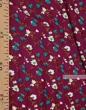 Tissu Viscose au metre ''White And Turquoise Flowers On Burgundy''}