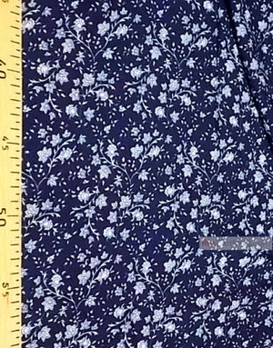 Tissu Viscose Imprimé au metre ''White Flowers On Branches On Blue Field''}