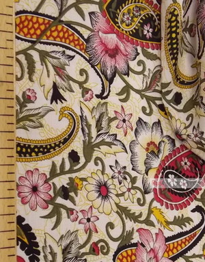 Viscose rayon by the yard ''Flowers East On White''}