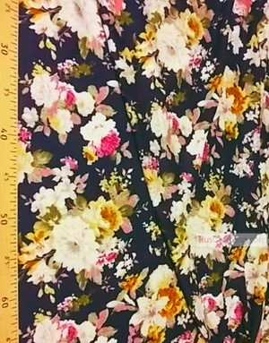 Viscose Fabric by the yard ''Flowers On Dark Blue''}