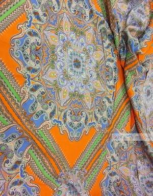 Tissu Viscose Imprimé au metre ''Eastern Coupon, Orange''}