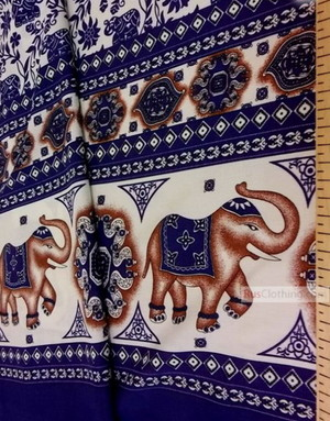 Viscose Fabric by the yard ''Indian Elephant With A Border''}