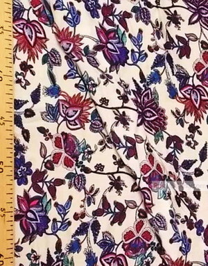 Tissu Viscose Imprimé au metre ''Purple-Pink Orchid Flowers On Milk''}