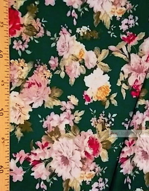 Tissu Viscose au metre ''Flowers On Green''}