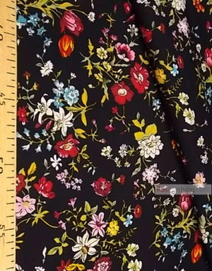 Viscose Fabric by the yard ''Bouquet Of Flowers On Black''}