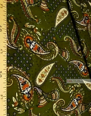 Viscose rayon by the yard ''Orange Paisley On Dark Olive''}