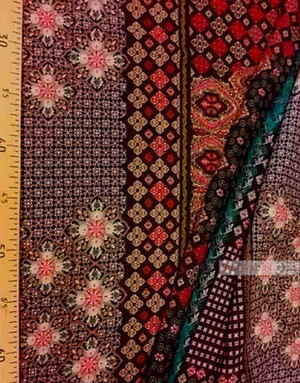 Viscose Fabric by the yard ''Red And Beige Oriental Pattern On Black''}