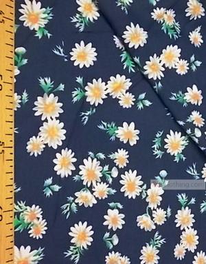 Viscose Fabric by the yard ''Daisies On Indigo''}