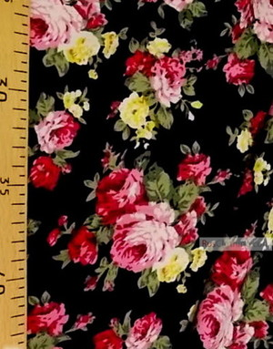 Tissu Viscose Imprimé au metre ''Yellow-Pink Roses On Black''}