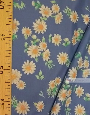 Viscose rayon by the yard ''Daisies On Blue''}