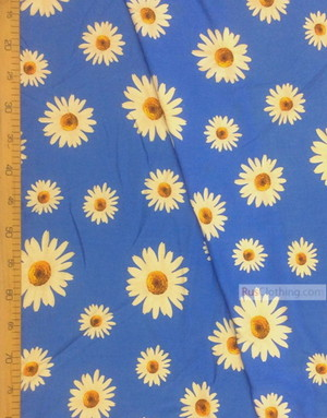 Viscose rayon by the yard ''Large Daisies On Blue''}