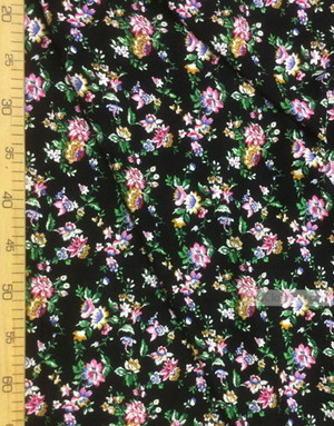 Viscose rayon by the yard ''Pink Flowers On Black''}