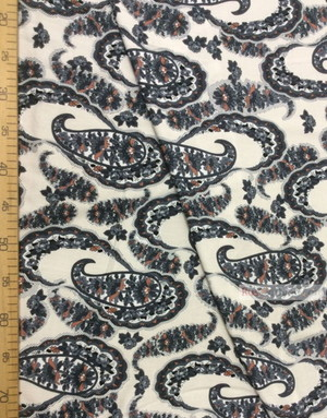 Viscose Fabric by the yard ''Grey Paisley With Garlands On Milk''}