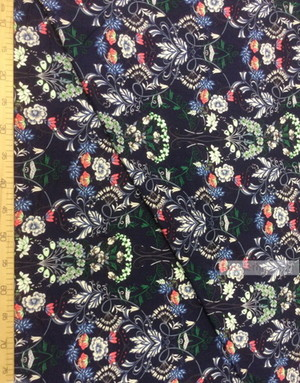 Tissu Viscose au metre ''Waltz Of Flowers On The Blue Field''}