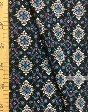 Viscose rayon by the yard ''Turquoise-Pink Patterns On Black''}