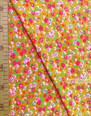 Viscose rayon by the yard ''Pink And White Flowers On Orange''}