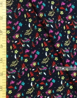 Tissu Viscose Imprimé au metre ''Flower Patterns On Dark Blue''}