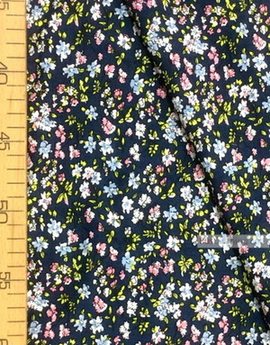 Tissu Viscose au metre ''Blue, Pink Flowers On Gray-Blue''}