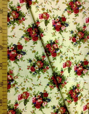 Viscose Fabric by the yard ''Bouquet Of Maroon Roses On A Lemon Field''}