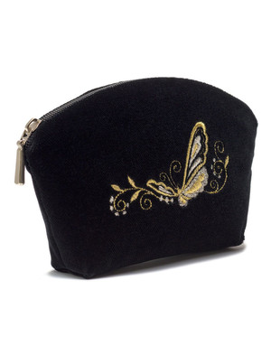 Trousse Maquillage Brodé d'or ''Butterfly''}