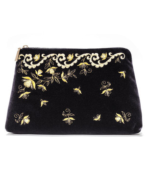 Trousse Maquillage Brodé d'or ''Nefertiti''}