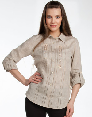 Linen blouse with embroidery ''Olga''