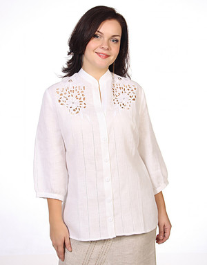 Linen blouse with Richelieu embroidery ''Symphony''