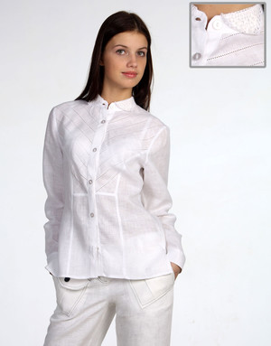 Linen blouse with embroidered collar ''Slavic''