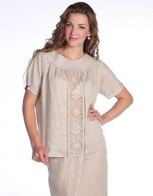 Linen blouse with embroidery ''Kristina''