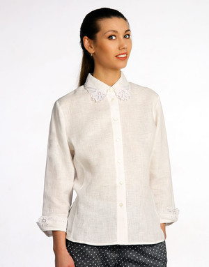 Linen blouse with embroidery ''Flowers''
