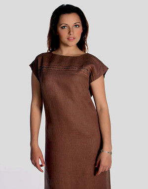 Casual linen dress with embroidery ''Sofia''