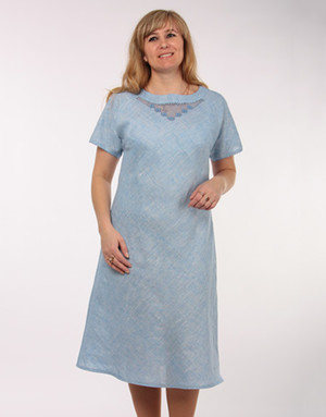 Casual linen dress with embroidery ''Lisa''