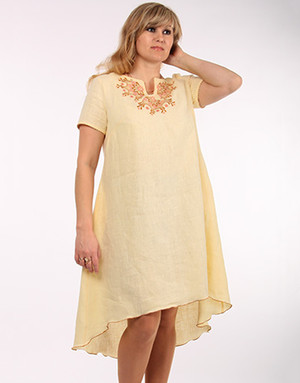 Casual linen dress with embroidery ''Aurora''