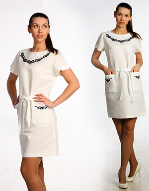 Casual linen dress with embroidery ''Alina''
