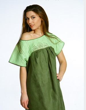 Casual linen dress with embroidery ''Summer''