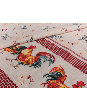 {[en]:Ukrainian embroidery fabric Colored roosters}