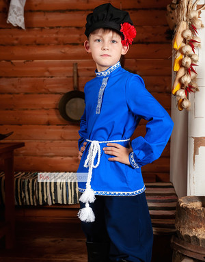 russian costume blue shirt