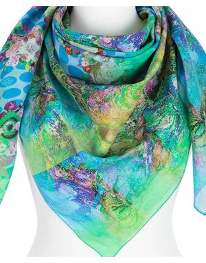 Cotton shawl  ''Green clouds''
