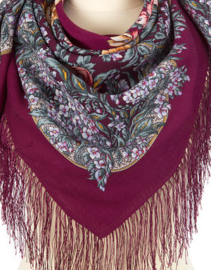 Wool shawl ''White night lace dreams''