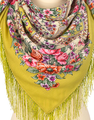 Wool shawl ''Spring awakening''