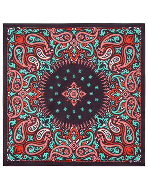 Cotton head scarf ''Red Paisley''