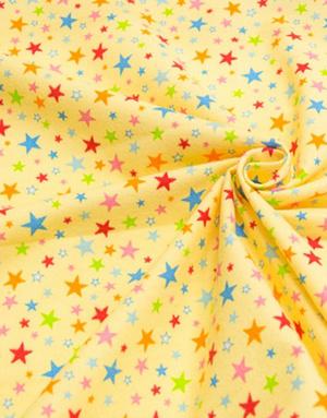 {[en]:Flannel cotton fabric ''Fireworks'' yellow}