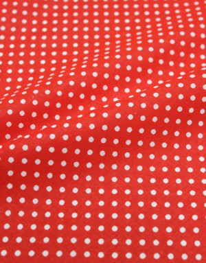 {[en]:Cotton fabric ''Little polka dots on red''}